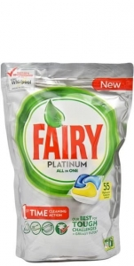 Fairy Platinum All in one Lemon - 55 szt. - Tabletki do zmywarki